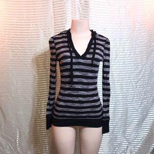 Gray Marled Striped Long Sleeve Hooded Shirt